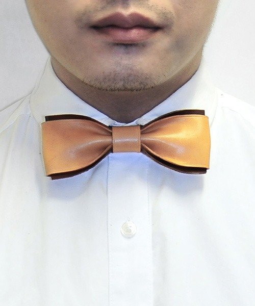 MICO handmade leather butterfly bow tie bow Tie light brown