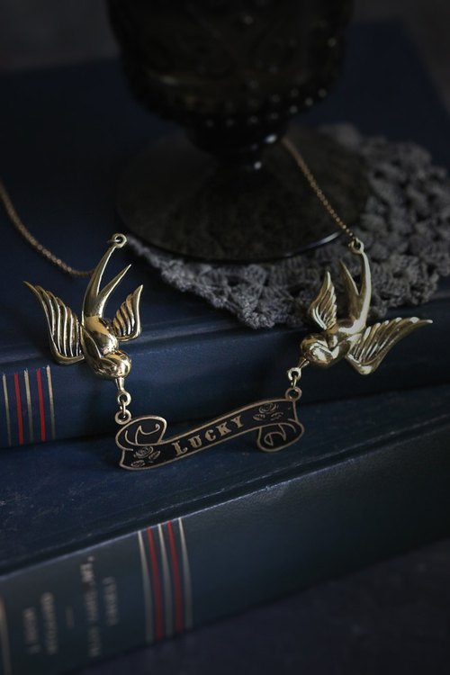 Swallows with Lucky Ribbon Necklace by Defy / Jewelry / Swallow Bird Charm Pendant / Unisex