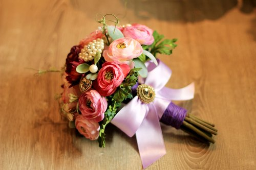 Jewelry bouquet of artificial flowers [series] NATURAL holding flowers / romantic purple