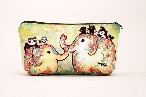 Meow good illustration wind Cosmetic / Pencil - Elephant flowering