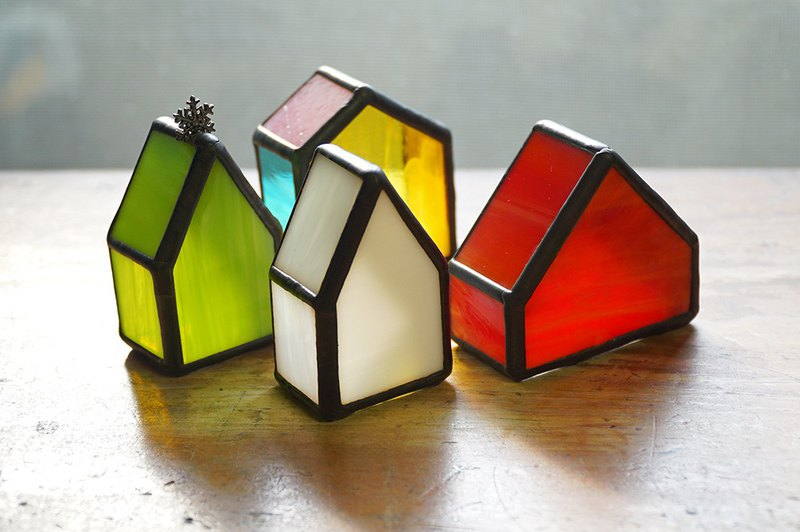 繽紛樂彩色玻璃小屋 /彩色玻璃/擺飾/鑲嵌玻璃