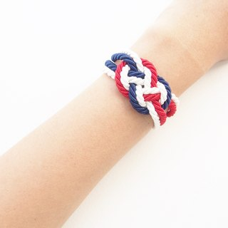 Red / blue / white nautical rope bracelet