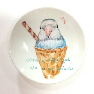 Parrot ice cream - Birthday painted saucer