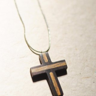 Blessings for the cross ebony necklace // ebony inlaid green tan / wear blessing 喔 :)