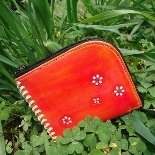 L-shaped zipper purse - sided models, peaches red & amp; floret