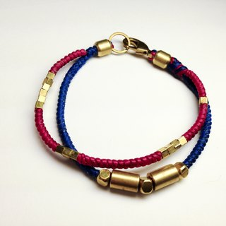 Jump time and space. Double series ◆ Sugar Nok ◆ brass hand-knitted wax cord bracelet