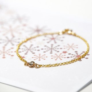 ITS-888 【Minimalist series, glimmering whisper】 Small diamond pendant / copper-plated bracelet.