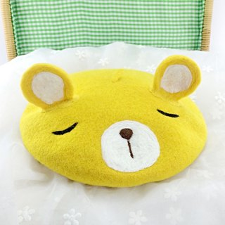 Original handmade cartoon bear yellow hat new winter hat wool hat