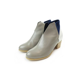 The Deep - Benthodesmus - Gray/White/Blue Leather Handmade *Ankle boots*