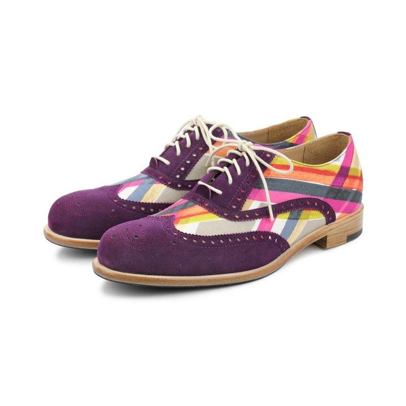 Sweet Villians M1150 手工真皮雕花線條幾何男牛津鞋 紫色