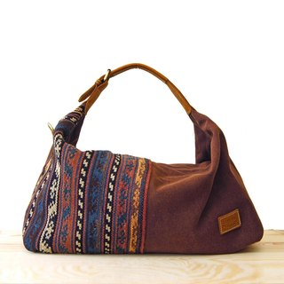 [Happa] youthful invincibility soft shoulder backpack (large) - Hand knotted kilim paragraph (Coffee cocoa coffee)
