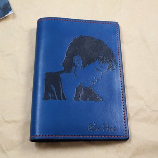 APEE leather handmade ~ extension passport holder ~ blue