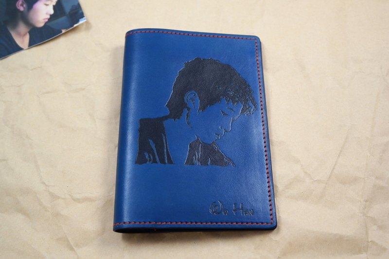 APEE皮手工~拓像護照夾~青藍