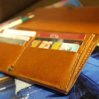 Fold wild buckskin made long folder / rich oil, natural texture super beautiful leather products