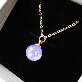 *Rosy Garden* Light purple glitter with water inisde glass ball necklace
