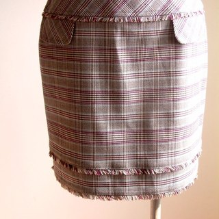 Houndstooth plaid skirt mixed lineage - light blue + purple