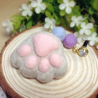 [Cream] wool felt plush fantasy healing system feet sprouting little kitty cat meat ball pads headphone plug dust plug mobile phone strap key ring gray American Shorthair cat lovers birthday gift handmade exclusive