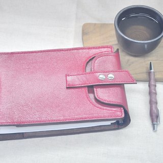 Cycle Life Series: deep cherry red goatskin England 2 hole 32K loose-leaf notebook