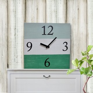 Solid wood retro fashion wall clock - lake blue - white - green - square -30cmX30cm - mute