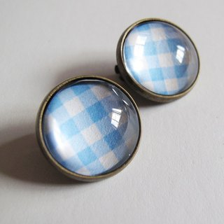 Blue Scottish pattern ear clip ear acupuncture