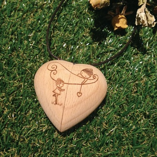 Happy Valentine's Day] [/ Wood necklace for your stardom