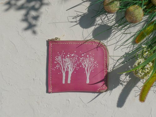 Do not hit the snow white forest pink vegetable tanned leather full leather L-type purse