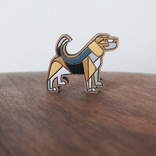 Wooden Brooch Beagle