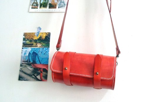 Hand dyed / retro cylinder messenger bag (small) set for