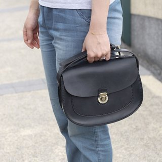 Single Button Saddle Bag / Side Backpack / Shoulder Bag--Black Stone
