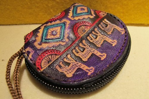 Dyeing leather handle semicircle purse - leather brand Totem (alpacas and sun)