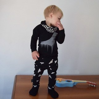 [Nordic Design] Organic Cotton Duck Children's Tops Black Black Big Raven-lt4