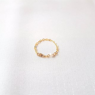 Small sugar ‧ brass pearl chain ring