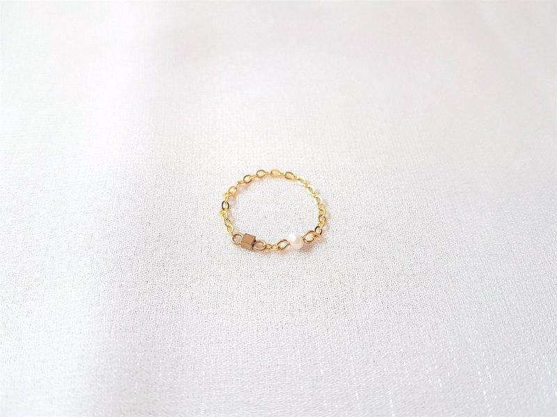 小方糖 ‧ 黃銅 珍珠 黃銅包14K金 鍊戒