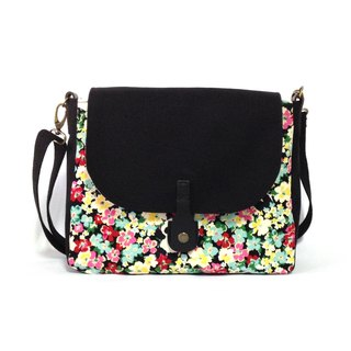 Panda in the flowers shoulder bag, crossbody bag, handmade, canvas
