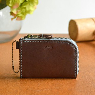 Fading Mist Leather Zipper Coin Bag