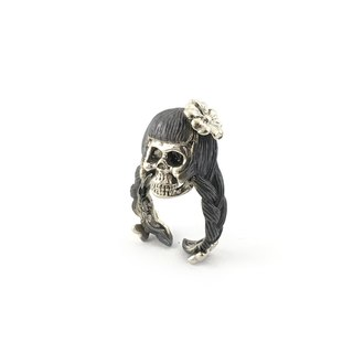 Zodiac Virgin skull ring is for Virgo in white bronze and oxidized antique color ,Rocker jewelry ,Skull jewelry,Biker jewelry