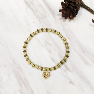 Grape Stone Bodhi Leaf Love Bracelet (021) - London Turf