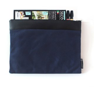 Waxed Canvas Large Portfolio Bag - Blue