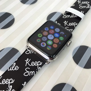 Apple Watch Series 1 , Series 2 and Series 3- Keep Smile Black Printed on Genuine Leather for Apple Watch Strap Band 38 / 42 mm - 56