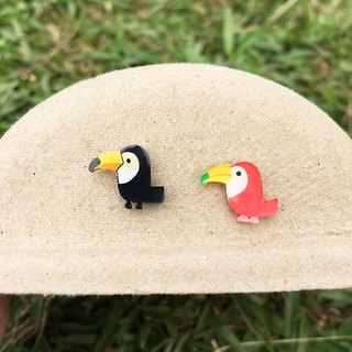 Big mouth birds haunted - hand-painted earrings - hypoallergenic needle / can be changed ear clip / a pair of
