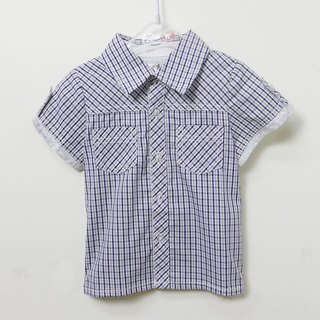 Blue and gray plaid short-sleeved shirt