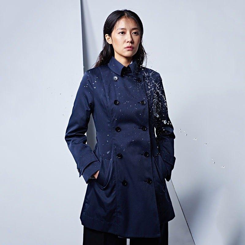 【換新衣】防潑水經典風衣 深藍
