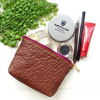 [ANITA] Workshop manual hand-made leather cosmetic bag embossed texture colors / Storage bag - Special