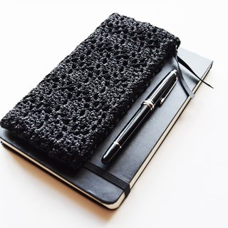 Slim Black Pencil Case - Black Crochet Pencil Case - Back to School Gift - Small Gadget Case -Teacher Gift - Student Gift - Pencil Storage Pouch