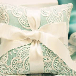 tiffany blue handmade lace ring pillow