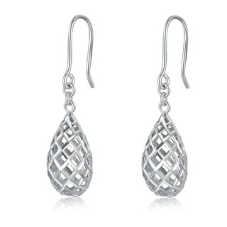 Hong Kong Design 14K / 585 white gold net gold teardrop-shaped earrings