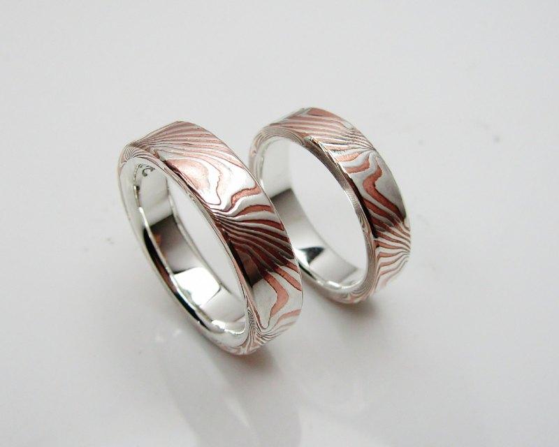 銀銅 木目金 戒指 木紋金  Mokume Gane (單枚價 / 可另訂對戒)