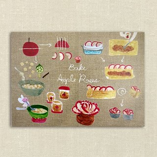 Volume rose apple recipes hand-painted postcards