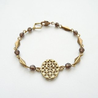 ::Downton Retro – Lady Sybil:: Smoky Quartz Brass Oval Filigree Bracelet