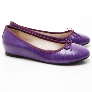 [Saint Landry] LAND crocodile pattern bow ballet shoes (purple)